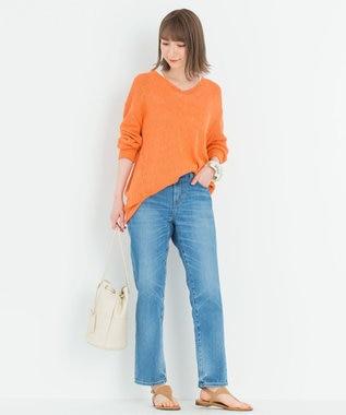 23区 【中村アンさん着用】シルクリネンリリヤーンVネックプルオーバー(番号2F43) オレンジ系