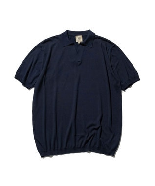 J.PRESS MEN シルク スキッパーポロシャツ ネイビー系