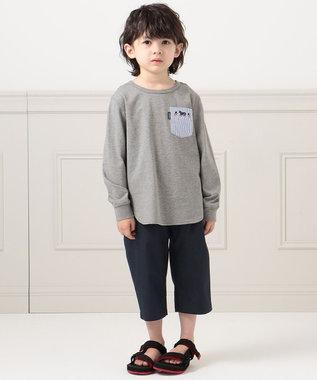 J.PRESS KIDS 【120-130cm】40/2天竺フラッグポイントTシャツ グレー系