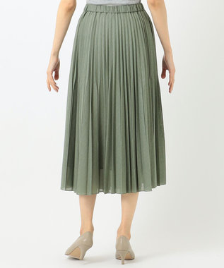 any FAM L 【優木まおみ着用】【洗える】ツイストボイルダブル  プリーツスカート ライトグリーン系