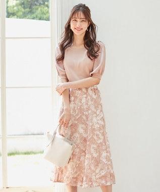 【美人百花コラボ】サテンスリーブ×フラワージャガードスカート セット