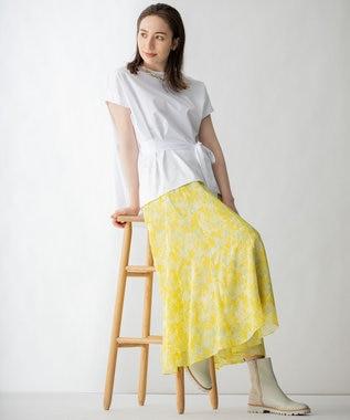 ドローイングフラワープリント スカート