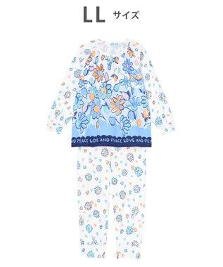 tsumori chisato SLEEP パジャマ ロング袖ロングパンツ 花柄 /ワコール UDO158 サックス