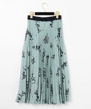 GRACE CONTINENTAL アートプリントプリーツスカート ブルー