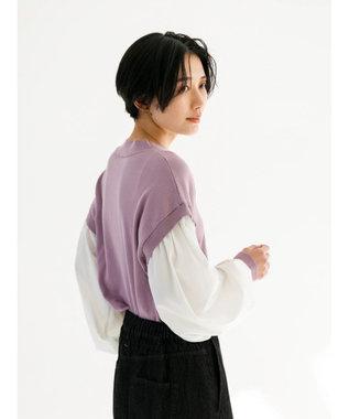 koe 袖ボリューム切り替えニットプルオーバー Purple