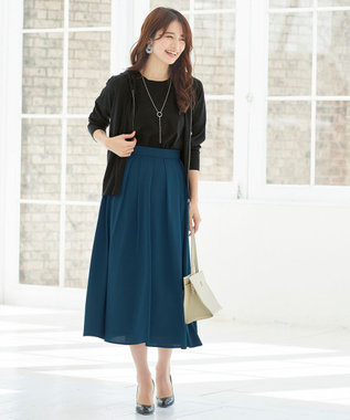 Tiaclasse 【洗える】きれい色で彩る、大人のマキシ丈フレアスカート ターコイズ
