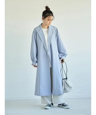 AMERICAN HOLIC 花粉防止袖ギャザーデザイントレンチコート Blue