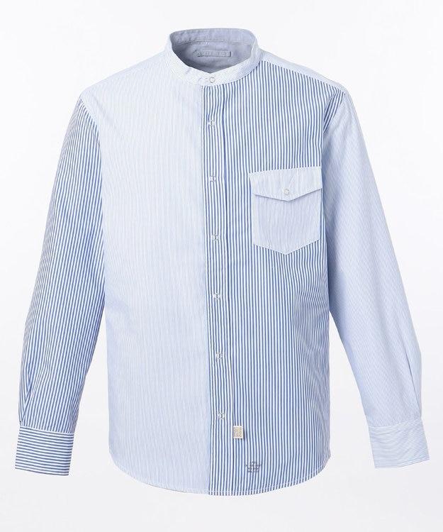 J.PRESS MEN ギンガムストライプ バンドカラー リバーシブルシャツ
