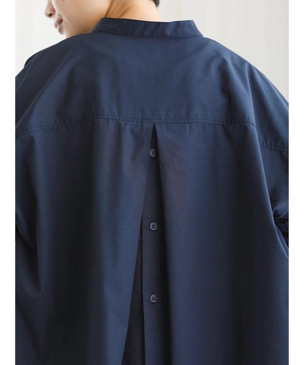 koe バックボタン7分袖スキッパーシャツチュニック