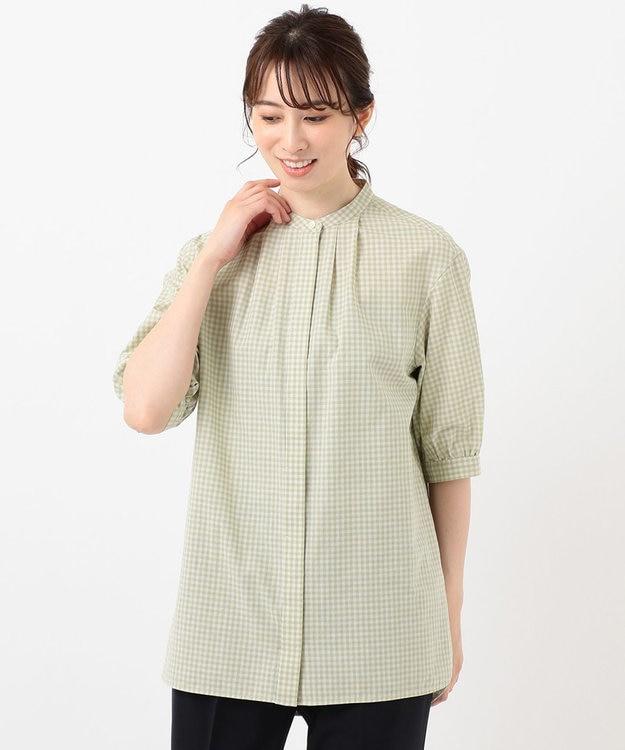 J.PRESS LADIES L 【洗える】BEZ コットンリネン ギンガム チュニック ブラウス