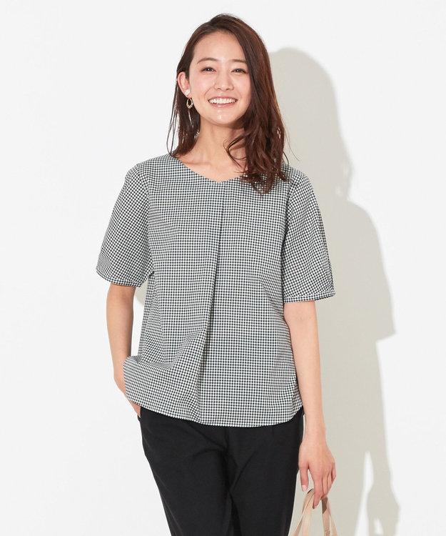 any SiS L 【洗える】コットン/キュプラ タックスリーブ ブラウス