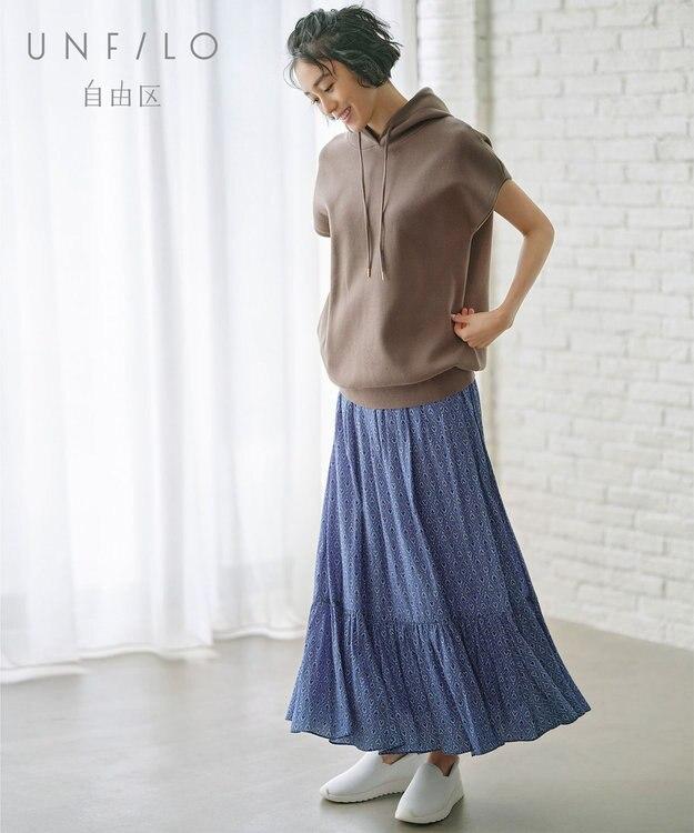 自由区 L 【UNFILO】スプリットデシン ティアード プリント スカート