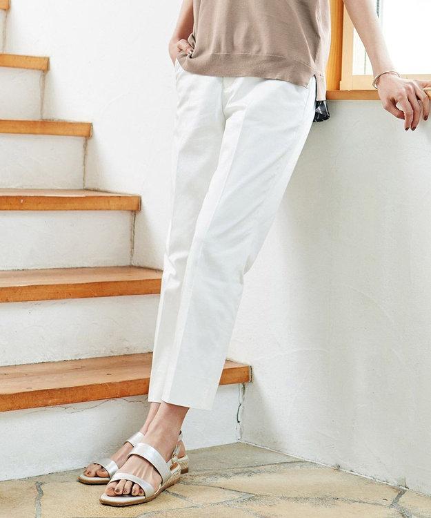 J.PRESS LADIES 【洗える】サテンストレッチ パンツ
