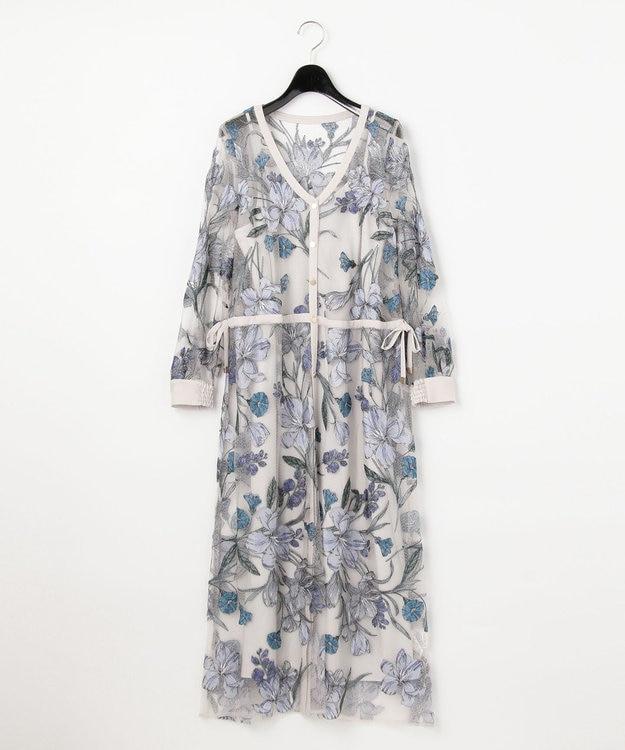 GRACE CONTINENTAL チュールフラワー刺繍ドレス