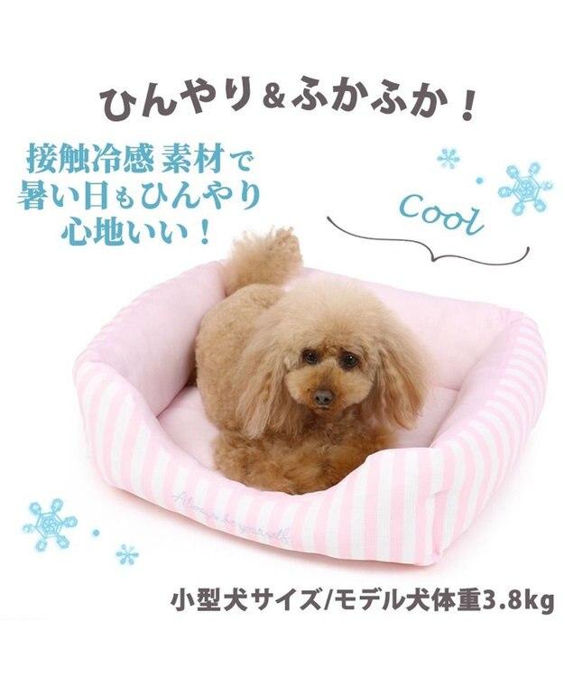 PET PARADISE 犬 春夏 クール 接触冷感 四角カドラーベッド M (57cm×45cm) ボーダー ブルー ピンク 青 桃 犬 猫 ベッド マット 小型犬 介護 おしゃれ かわいい ふわふわ あごのせ