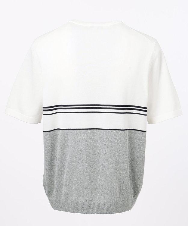 JOSEPH ABBOUD ハイツイストコットンパネルボーダー ニットTシャツ