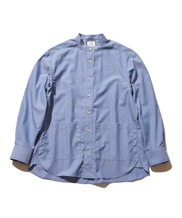 J.PRESS YORK STREET 【UNISEX】タイプライターストライプ バンドカラーシャツ