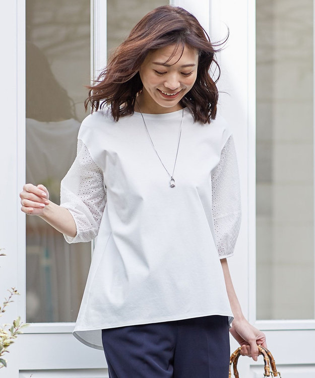 J.PRESS LADIES スムースジャージー 刺繍袖 カットソー