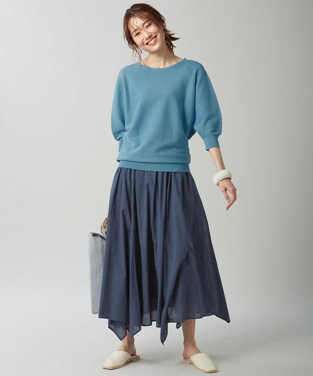 組曲 【洗える】フェルガナコットンボタニカルダイホールガーメント ニット