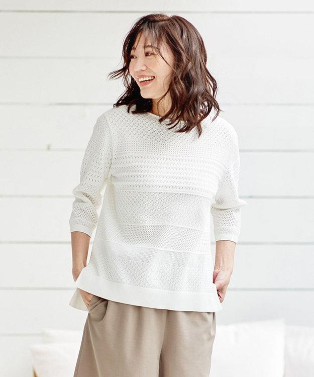 J.PRESS LADIES 【洗える】レーシーパターン ニット