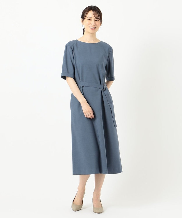 J.PRESS LADIES L 【洗える】ドライタッチツイルストレッチ ワンピース