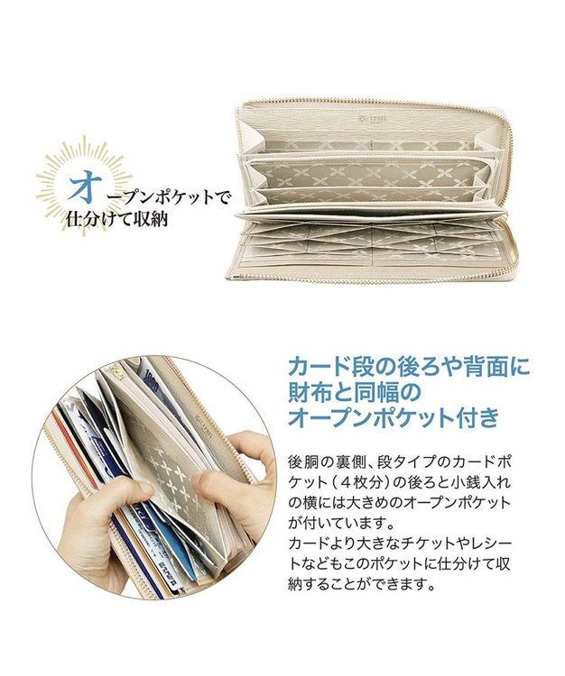 CYPRIS 【WEB限定仕様】リサッカ 日本製 型押し牛革L字ファスナーハニーセル長財布