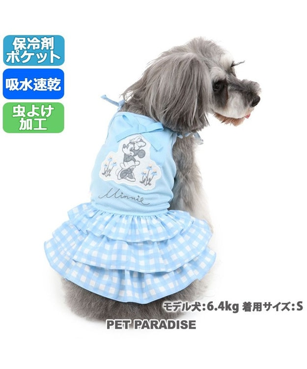 PET PARADISE ペットパラダイス ディズニー ミニーマウス ギンガム 保冷剤付き ポケット クール ワンピース 〔小型犬〕 超小型犬 小型犬 ひんやり 夏 涼感 冷却