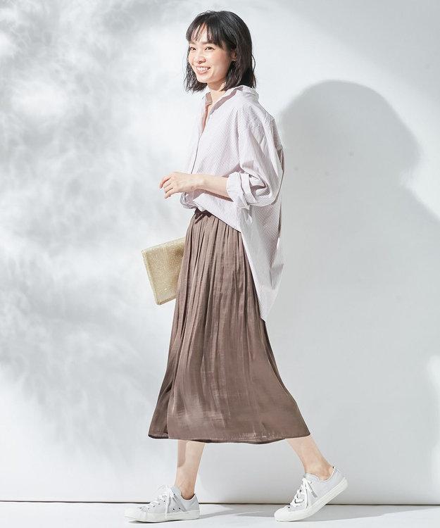 組曲 L 【オールシーズン活躍!洗える】ヴィンテージサテン ギャザーボトム