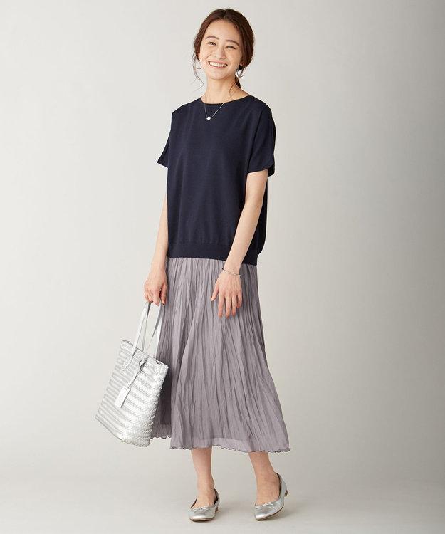 J.PRESS LADIES L 【UVカット・洗える】Functional Cotton Blend 袖レース ニット