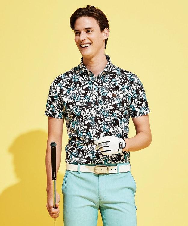 23区GOLF 【MEN】【UV/撥水】メリーゴーランド総柄ポロシャツ