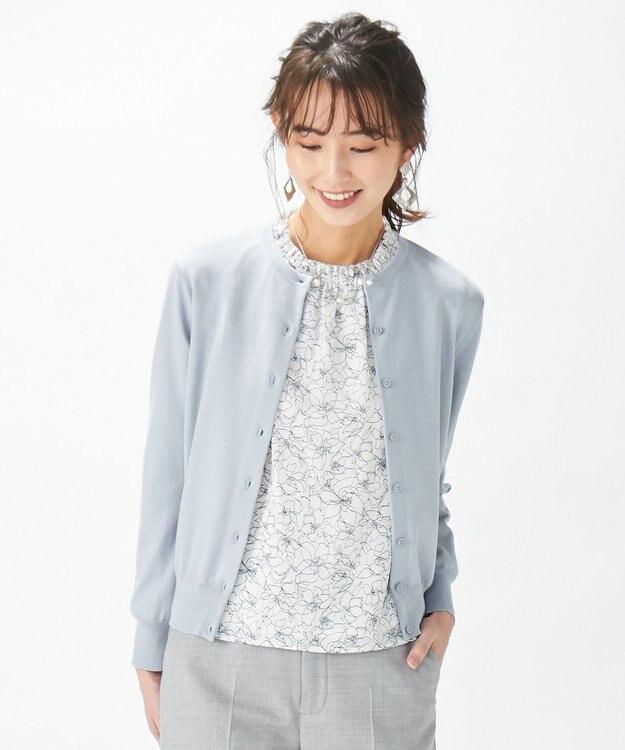 J.PRESS LADIES L 【洗える】ラインフラワープリント ツインセット