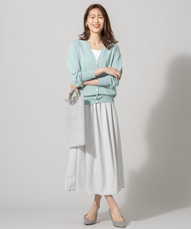 組曲 S 【洗える】フェルガナコットン ボタニカルダイ ホールガーメント カーディガン