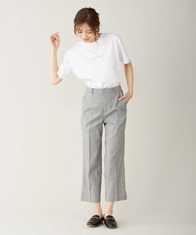 J.PRESS LADIES S 【洗える】YUNSA綿麻チェック パンツ