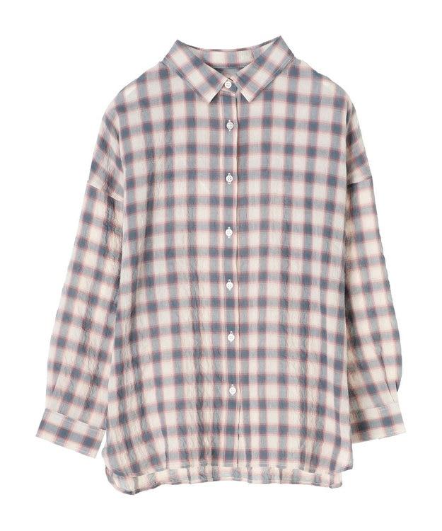 Green Parks シャーリングチェックカジュアルシャツ