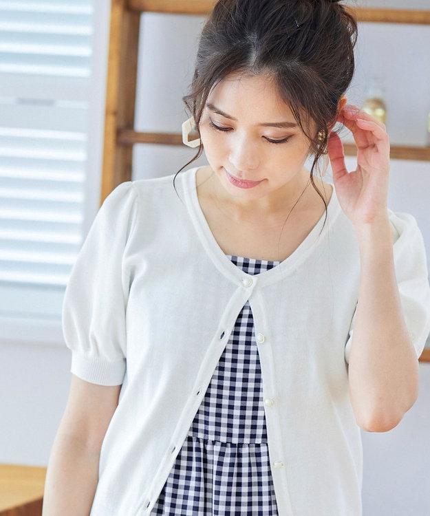 Tiaclasse 【UVカット・接触冷感・洗える】ひんやり心地良いパフ袖ニットカーディガン