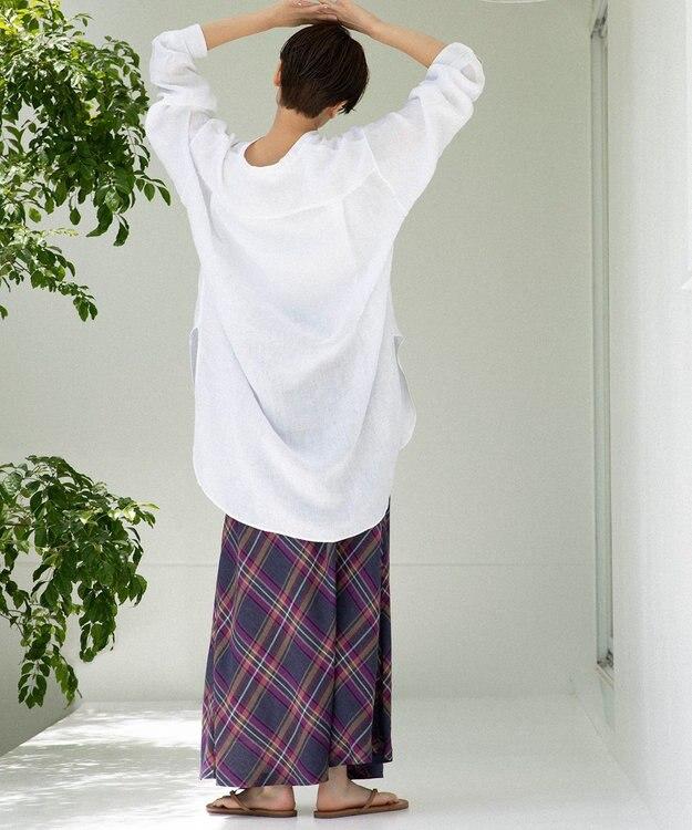 23区 L 【中村アンさん着用】LIBECO バンドカラー ビック シャツ(番号2K25)