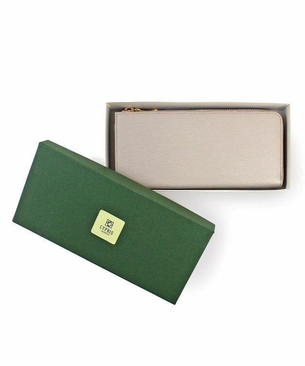 CYPRIS 【カード19枚収納】リサッカ 日本製 型押し牛革L字ファスナーハニーセル長財布