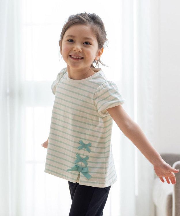 any FAM KIDS ボーダーレースアップTシャツ