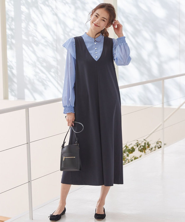 組曲 S 【洗える】ハイストレッチポンチ ジャンパースカート ワンピース