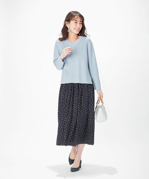 J.PRESS LADIES 【洗える】ポリエステル デシンハケメプリント フレアスカート
