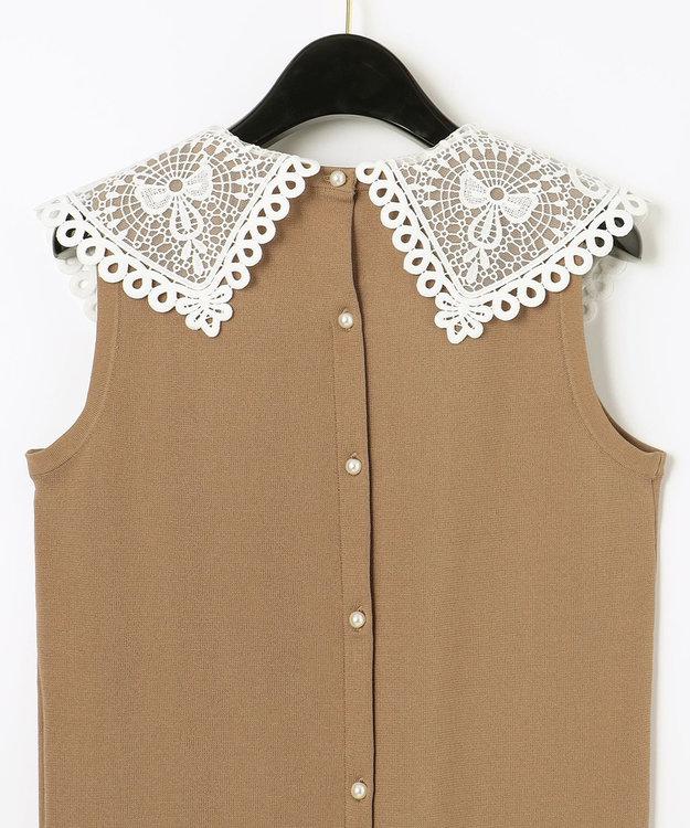 GRACE CONTINENTAL 刺繍衿ニットノースリーブトップ