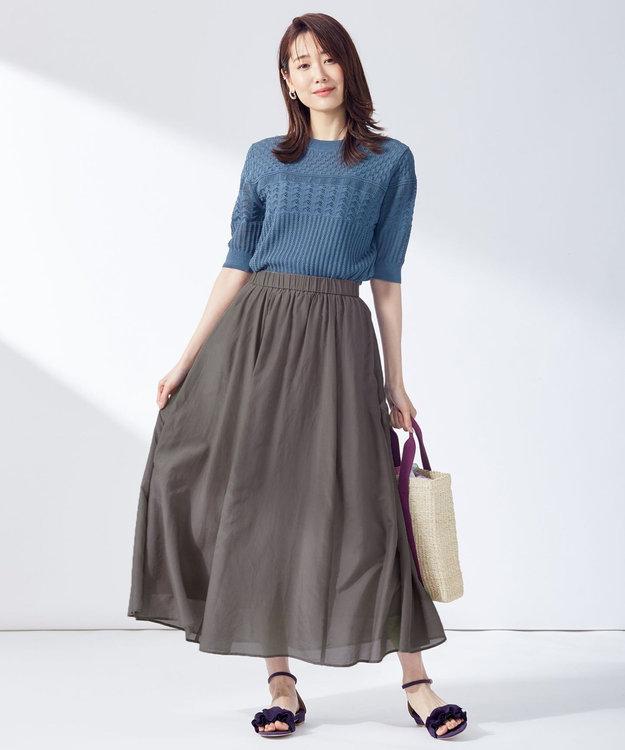 組曲 L 【洗える】コットンシルクローン フレアスカート