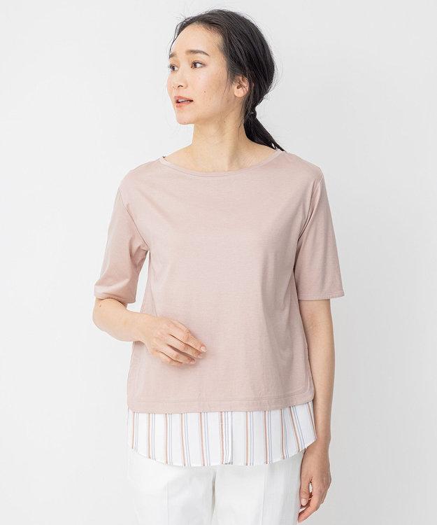 自由区 ストライプシャツ 重ね着風  プルオーバー Tシャツ