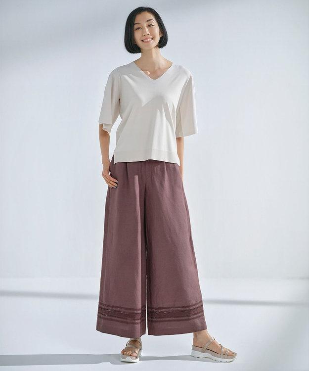 自由区 【Sサイズ有】リネン エンブロイダリー ワイドパンツ